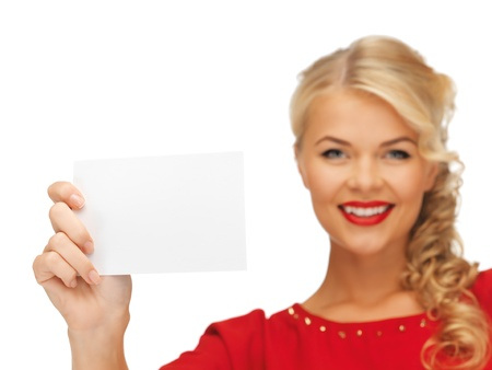picture of lovely woman in red dress with note card  focus on paper  Stock Photo - 16346456