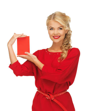 picture of lovely woman in red dress with note card Stock Photo - 16346554