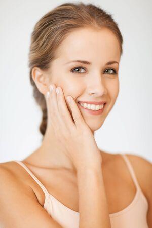 bright closeup portrait picture of beautiful woman