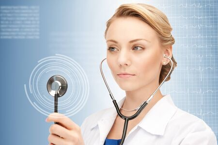 picture of attractive female doctor with stethoscope  Stock Photo - 16013730