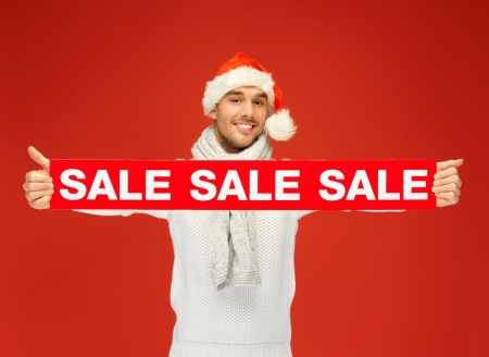 bright picture of handsome man in christmas hat  Stock Photo - 16013697