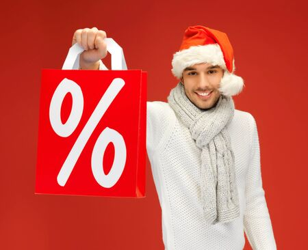 bright picture of handsome man in christmas hat Stock Photo - 16013683