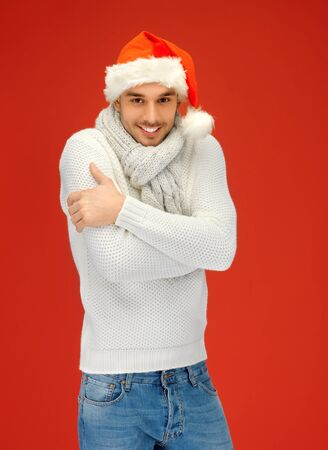bright picture of handsome man in christmas hat  Stock Photo - 16038770