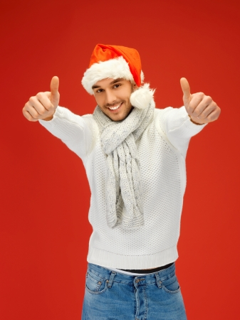 bright picture of handsome man in christmas hat  Stock Photo - 16038775