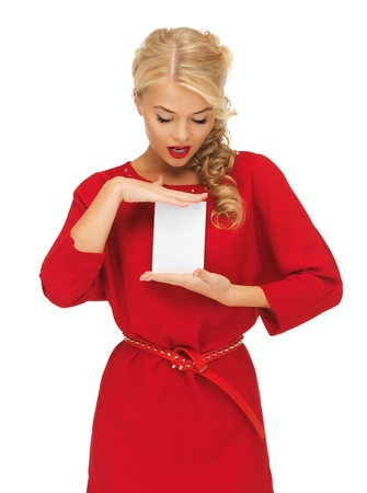 picture of lovely woman in red dress with note card Stock Photo - 16013722