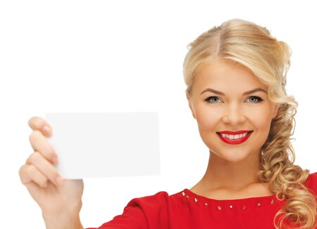 picture of lovely woman in red dress with note card Stock Photo - 16013724
