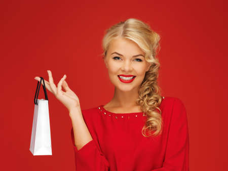 picture of lovely woman in red dress with shopping bag Stock Photo - 16013691
