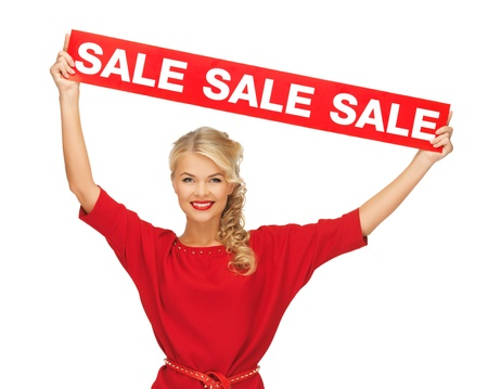 picture of lovely woman in red dress with sale sign Stock Photo - 16013710