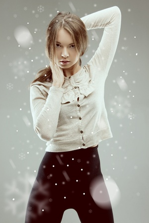 bright picture of lovely woman in grey jacket Stock Photo - 16038778