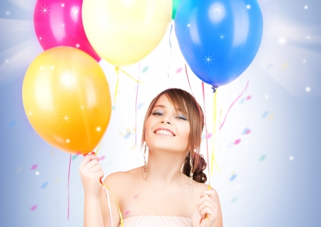 picture of happy teenage girl with balloons Stock Photo - 16087283