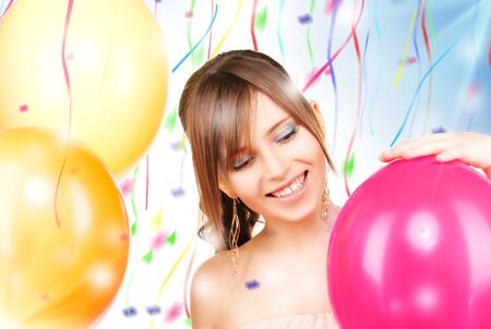 picture of happy teenage girl with balloons photo