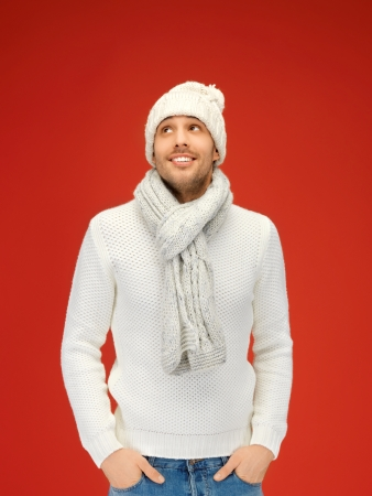 picture of handsome man in warm sweater, hat and scarf Stock Photo - 16064116