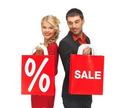 bright picture of man and woman with shopping bag Stock Photo - 16084611