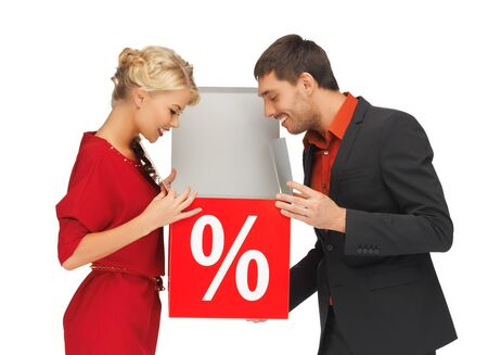 expectations: bright picture of man and woman with percent sign