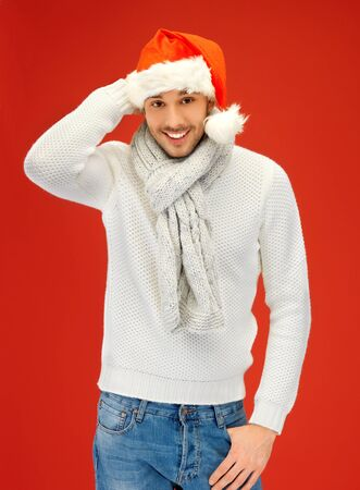 bright picture of handsome man in christmas hat  Stock Photo - 16118157