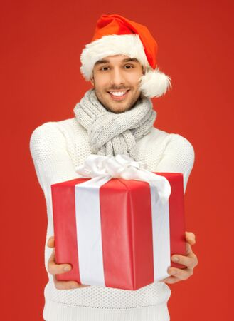 bright picture of handsome man in christmas hat Stock Photo - 16118123