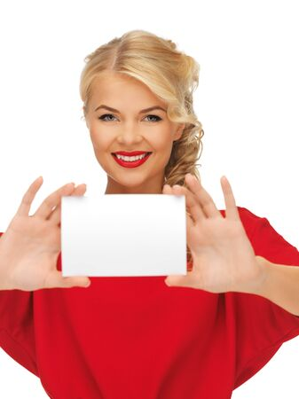 picture of lovely woman in red dress with note card Stock Photo - 16118119