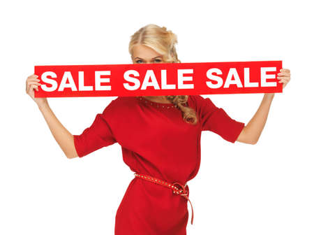 picture of lovely woman in red dress with sale sign photo