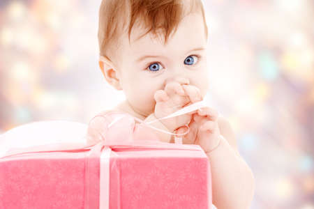 picture of baby boy with big gift box photo