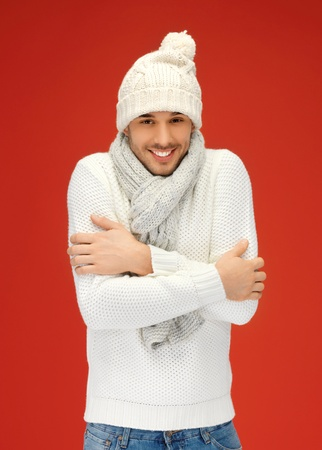 picture of handsome man in warm sweater, hat and scarf Stock Photo - 16142170
