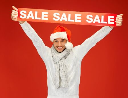 bright picture of handsome man in christmas hat  Stock Photo - 16142128