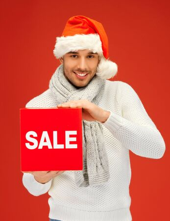 bright picture of handsome man in christmas hat  Stock Photo - 16142143