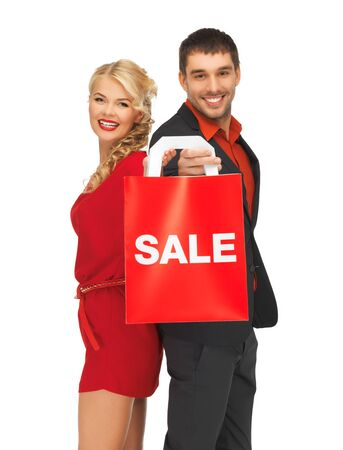 bright picture of man and woman with shopping bag Stock Photo - 16142123