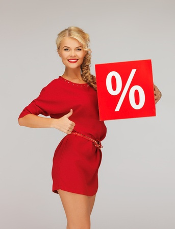 picture of lovely woman in red dress with percent sign Stock Photo - 16142130