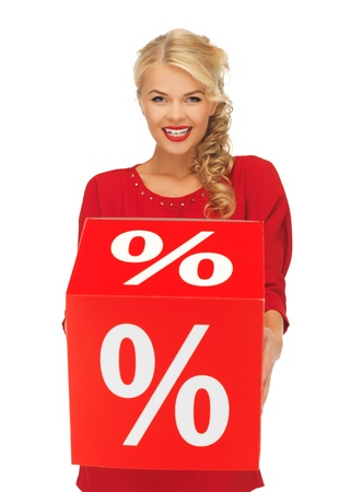 picture of lovely woman in red dress with percent sign Stock Photo - 16142115