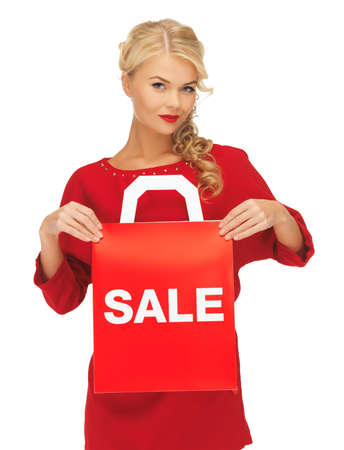 picture of beautiful woman in red dress with shopping bag Stock Photo - 16142146