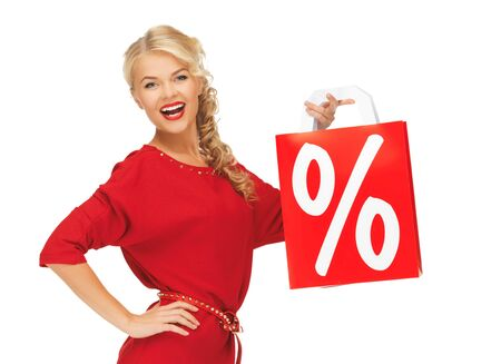 picture of laughing woman in red dress with shopping bag Stock Photo - 16142129