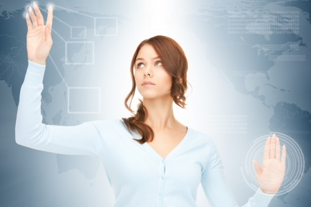 picture of businesswoman working with touch screen photo