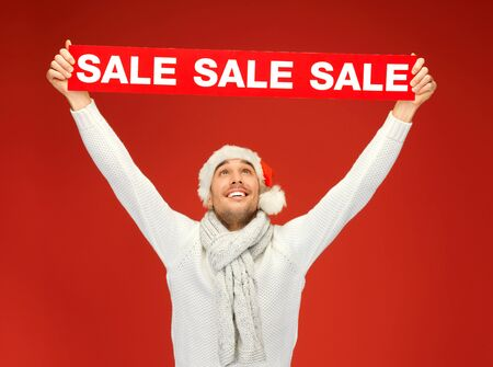 bright picture of handsome man in christmas hat  Stock Photo - 16165290