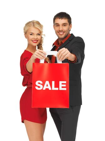 bright picture of man and woman with shopping bag Stock Photo - 16165338