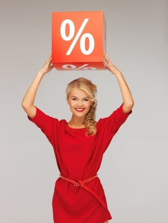 picture of lovely woman in red dress with percent sign Stock Photo - 16165341