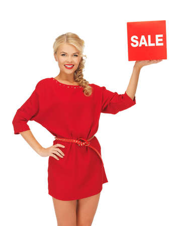 picture of lovely woman in red dress with sale sign Stock Photo - 16165305