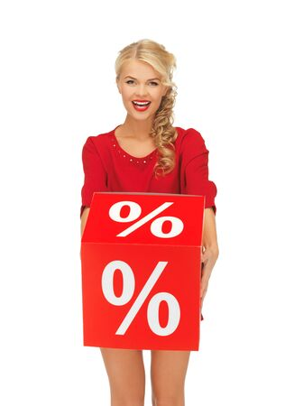 picture of lovely woman in red dress with percent sign Stock Photo - 16165335