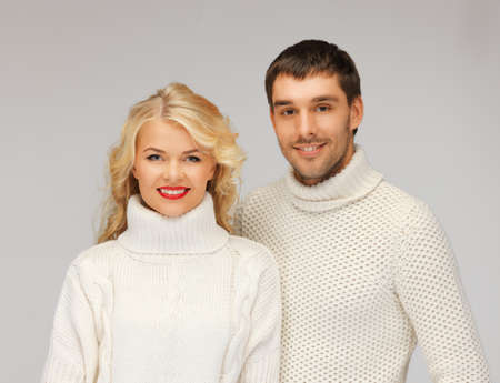 woman sweater: bright picture of family couple in a sweaters Stock Photo