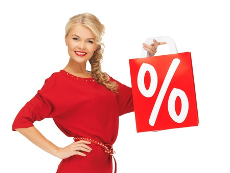 picture of beautiful woman in red dress with shopping bag Stock Photo - 16165312