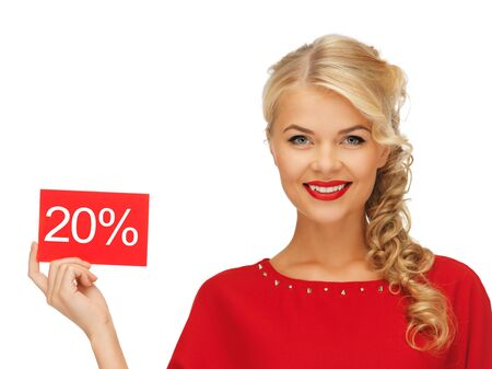 picture of lovely woman in red dress with discount card photo