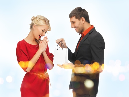 picture of man and woman with present Stock Photo - 16192127