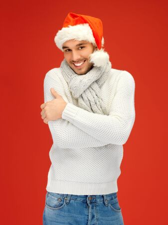 head wear: bright picture of handsome man in christmas hat