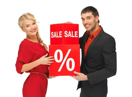 bright picture of man and woman with percent sign Stock Photo - 16216092