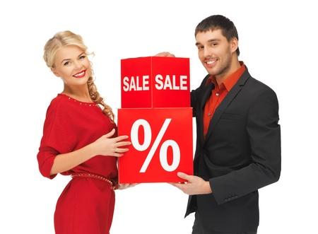 brillante imagen de hombre y mujer con signo de porcentaje Foto de archivo