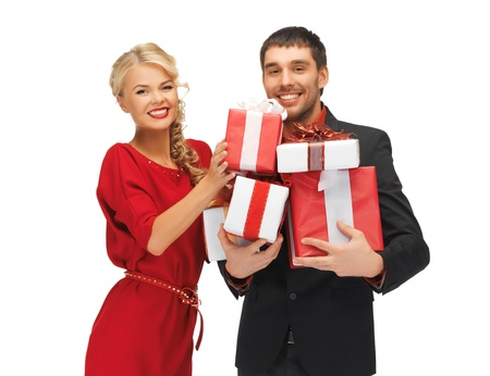 picture of man and woman with gift boxes Stock Photo - 16216079