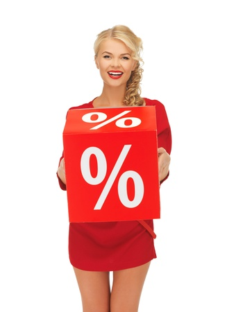 picture of lovely woman in red dress with percent sign Stock Photo - 16216053