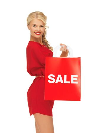 picture of beautiful woman in red dress with shopping bag Stock Photo - 16216067
