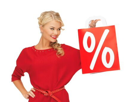 picture of beautiful woman in red dress with shopping bag Stock Photo - 16216093