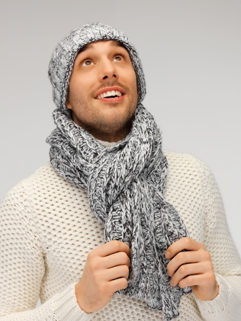 picture of handsome man in warm sweater, hat and scarf Stock Photo - 16216054