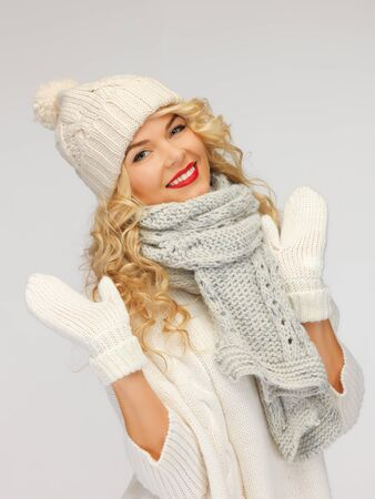 comforter: bright picture of beautiful woman in hat, muffler and mittens